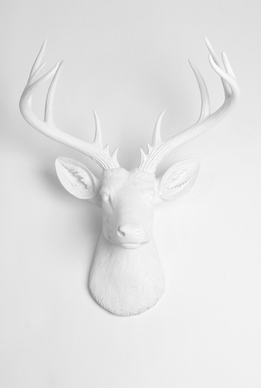 X Large Deer Head Wall Mount , The Xl Templeton Deer Wall Mount Sculpture |  Fake Animal Headwhite Faux Taxidermy Regarding Large Deer Head Faux Taxidermy Wall Decor (Photo 28 of 30)
