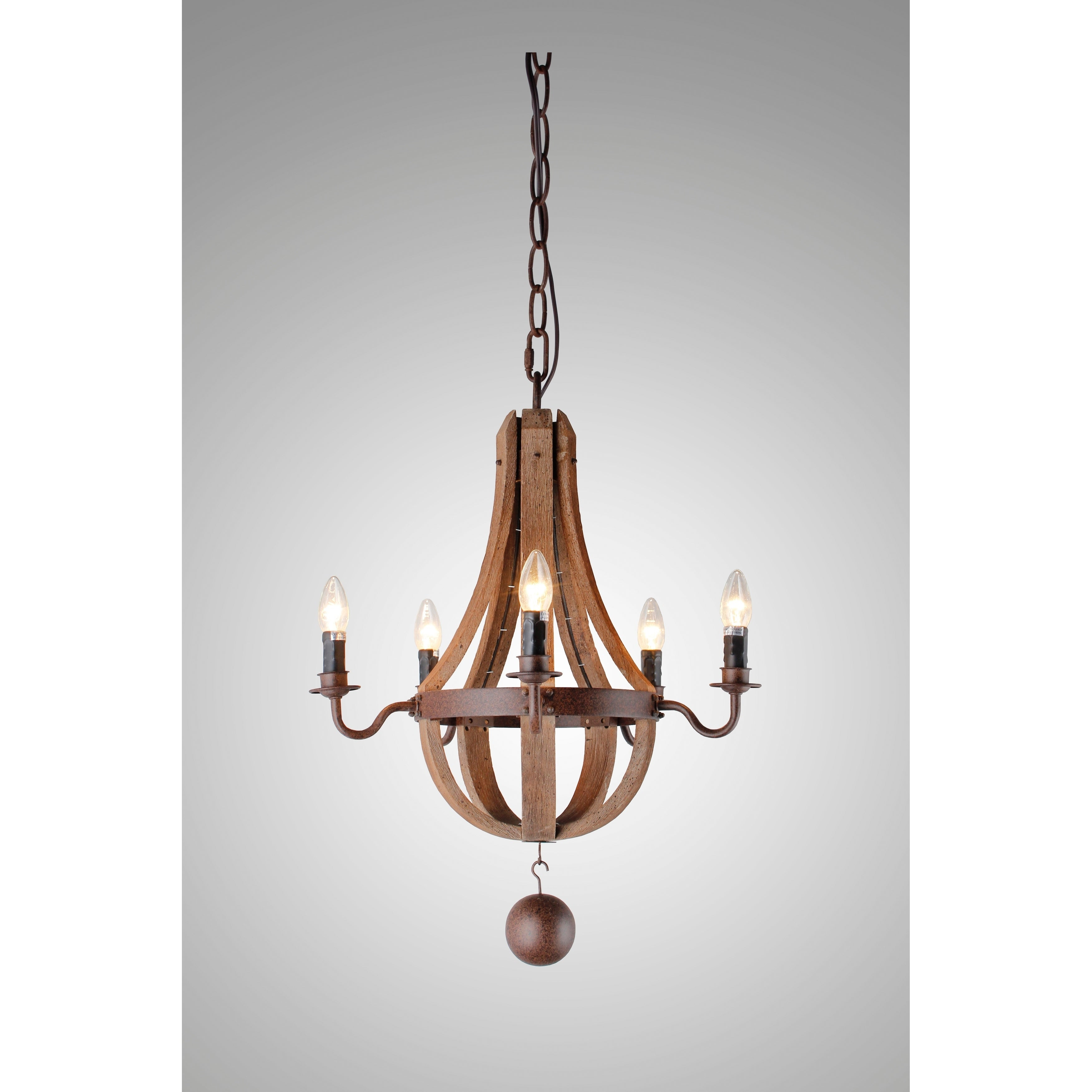 Y Decor 5 Light Candle Style Chandelier In Iron Frame & Rustic Finish Pertaining To Berger 5 Light Candle Style Chandeliers (View 14 of 30)