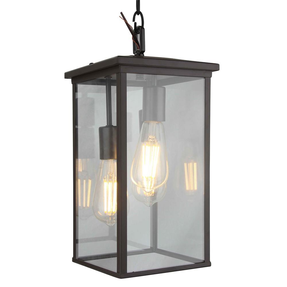 Y Decor Large 3 Light Bronze Outdoor Pendant Light In William 4 Light Lantern Square / Rectangle Pendants (Gallery 27 of 30)