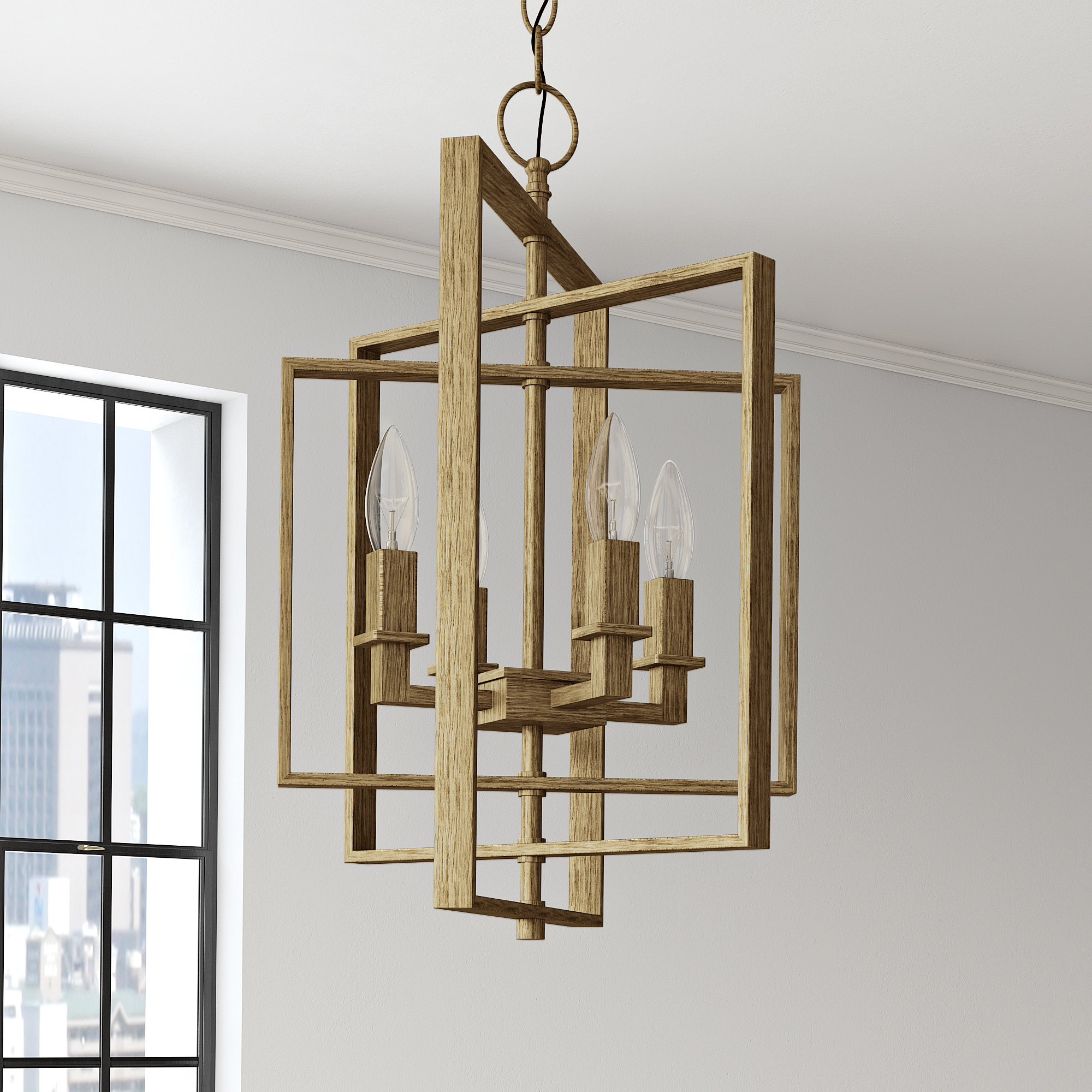Yarnell 4 Light Square/rectangle Chandelier In Tiana 4 Light Geometric Chandeliers (Gallery 6 of 30)