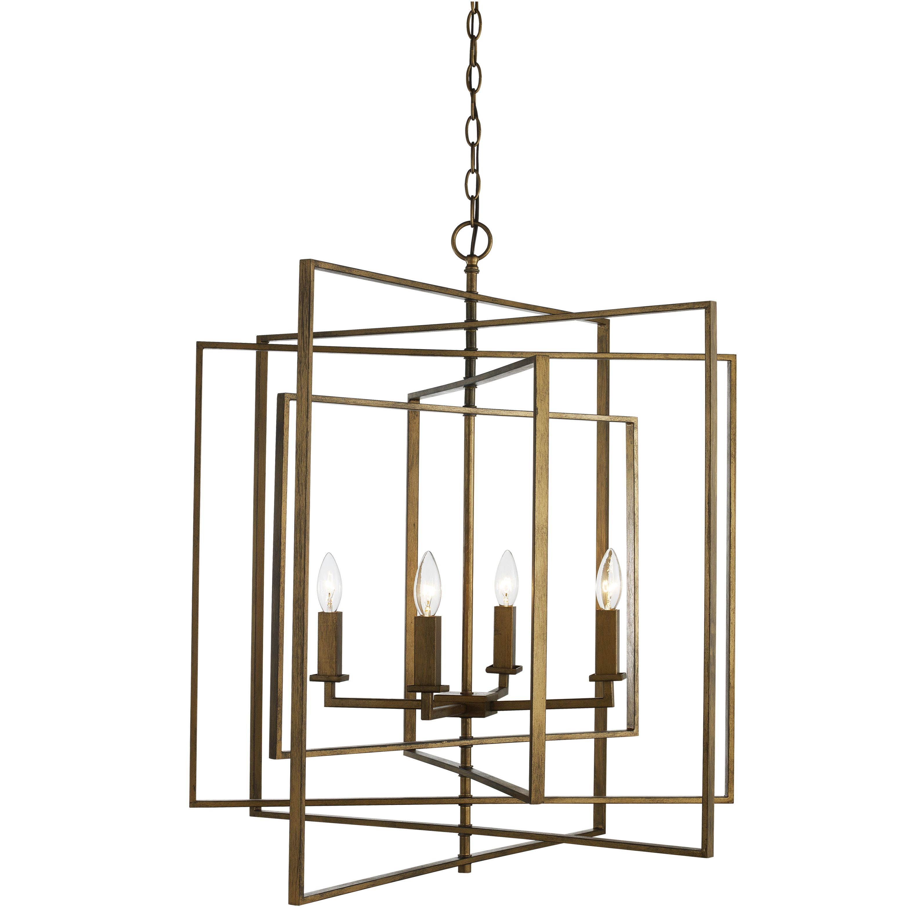 Yarnell 4 Light Square/rectangle Chandelier | Lighting Pertaining To Freeburg 4 Light Lantern Square / Rectangle Pendants (Photo 12 of 30)