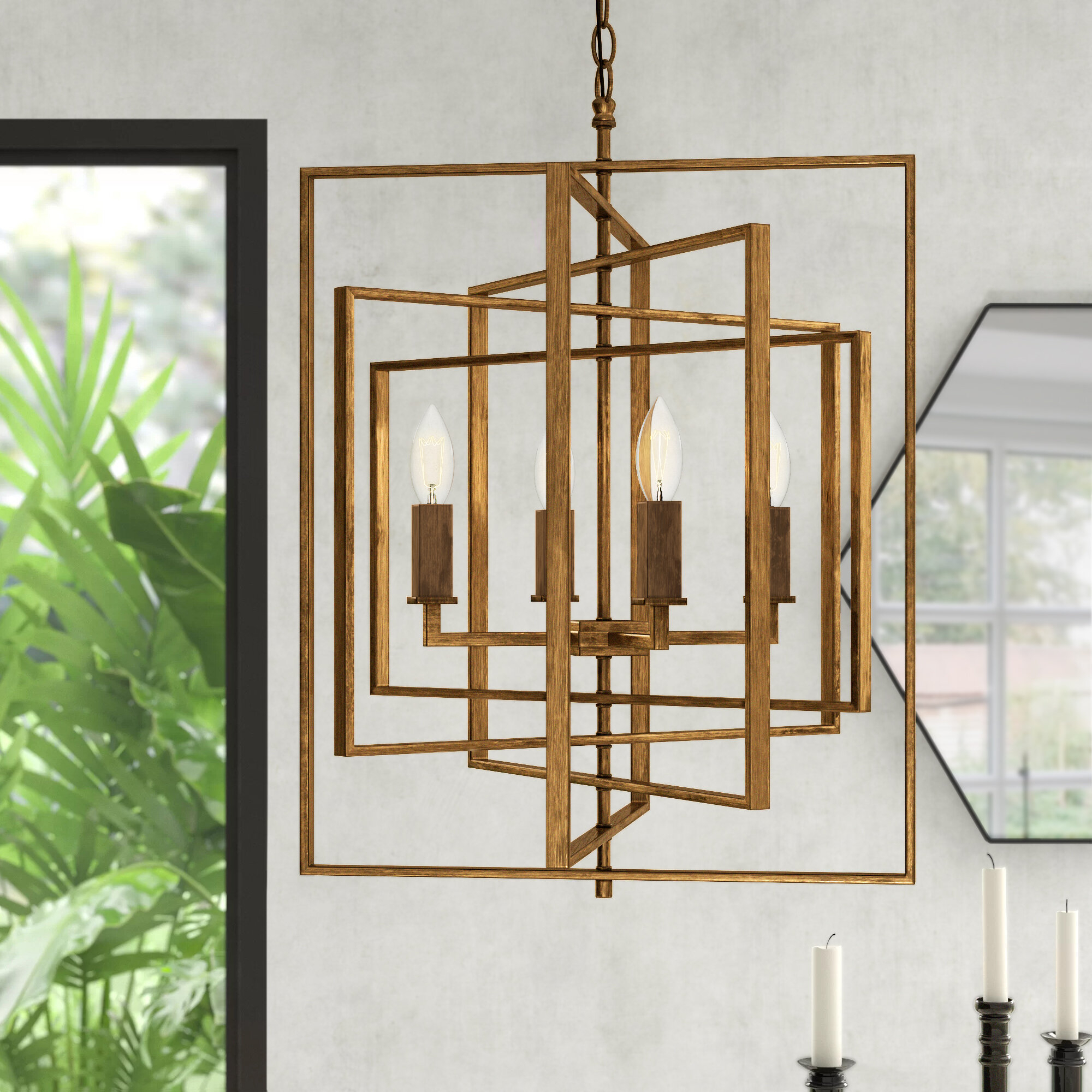 Yarnell 4-Light Square/rectangle Chandelier pertaining to Cavanagh 4-Light Geometric Chandeliers (Image 30 of 30)
