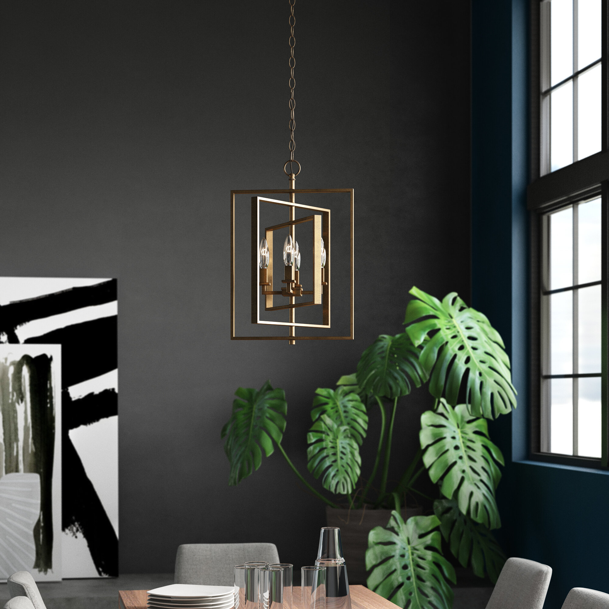 Yarnell 4 Light Square/rectangle Chandelier With Tiana 4 Light Geometric Chandeliers (Gallery 5 of 30)