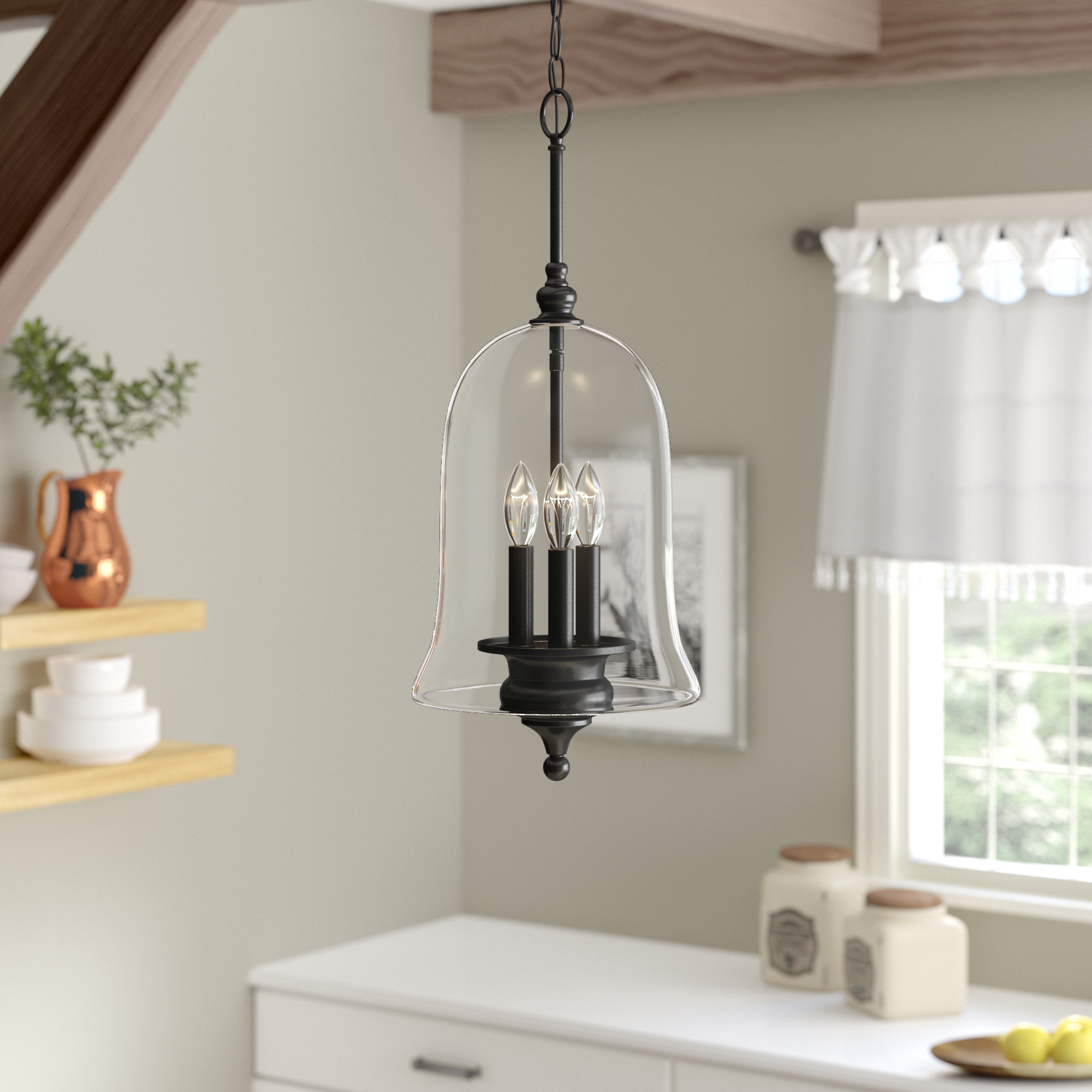 Youngberg 3 Light Single Bell Pendant With Dirksen 3 Light Single Cylinder Chandeliers (View 7 of 30)