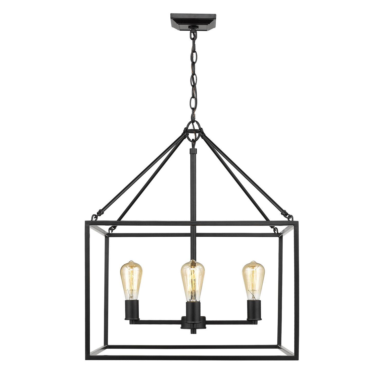 Zabel 4-Light Lantern Square / Rectangle Pendant for Odie 4-Light Lantern Square Pendants (Image 28 of 30)