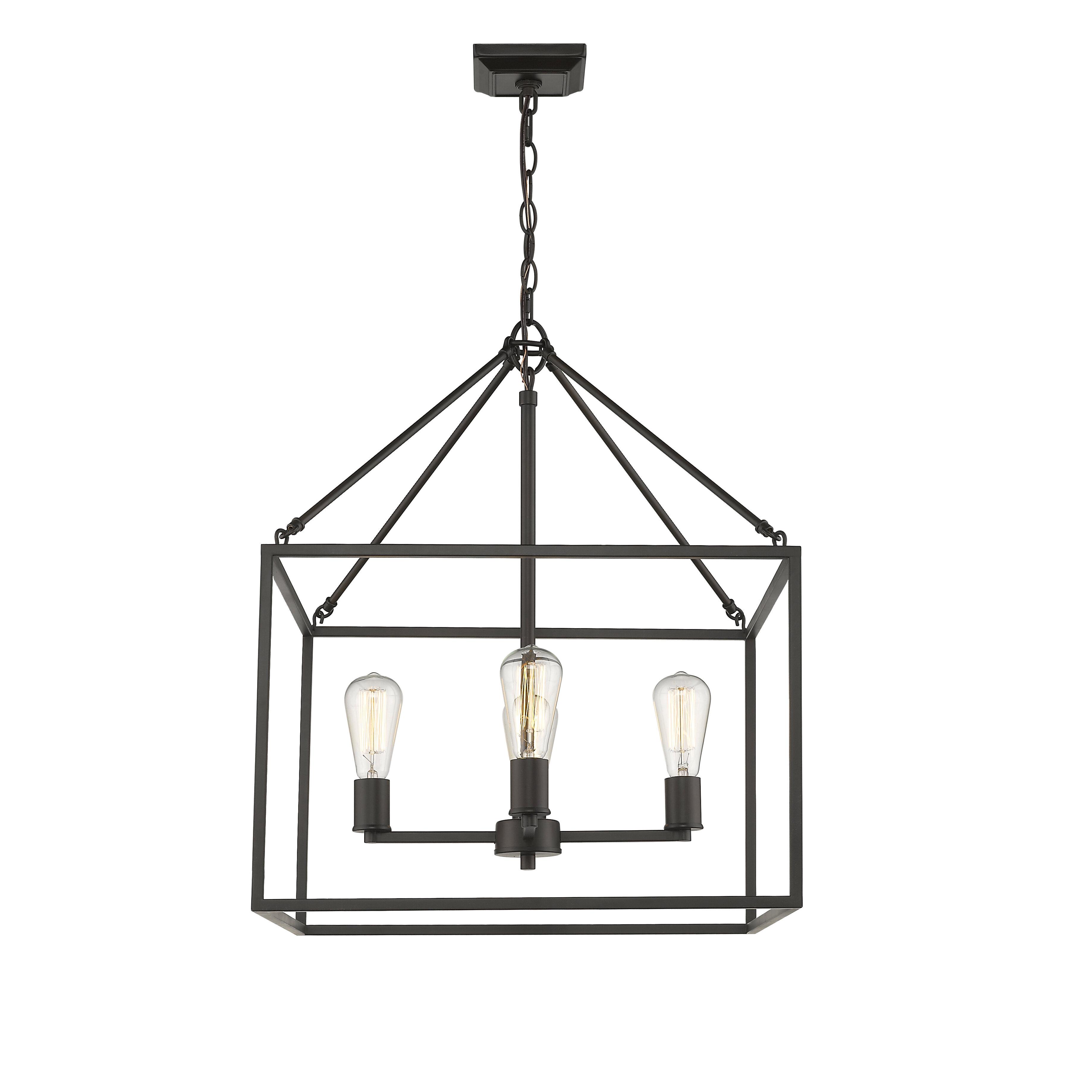 Zabel 4-Light Lantern Square / Rectangle Pendant pertaining to Carmen 8-Light Lantern Tiered Pendants (Image 30 of 30)