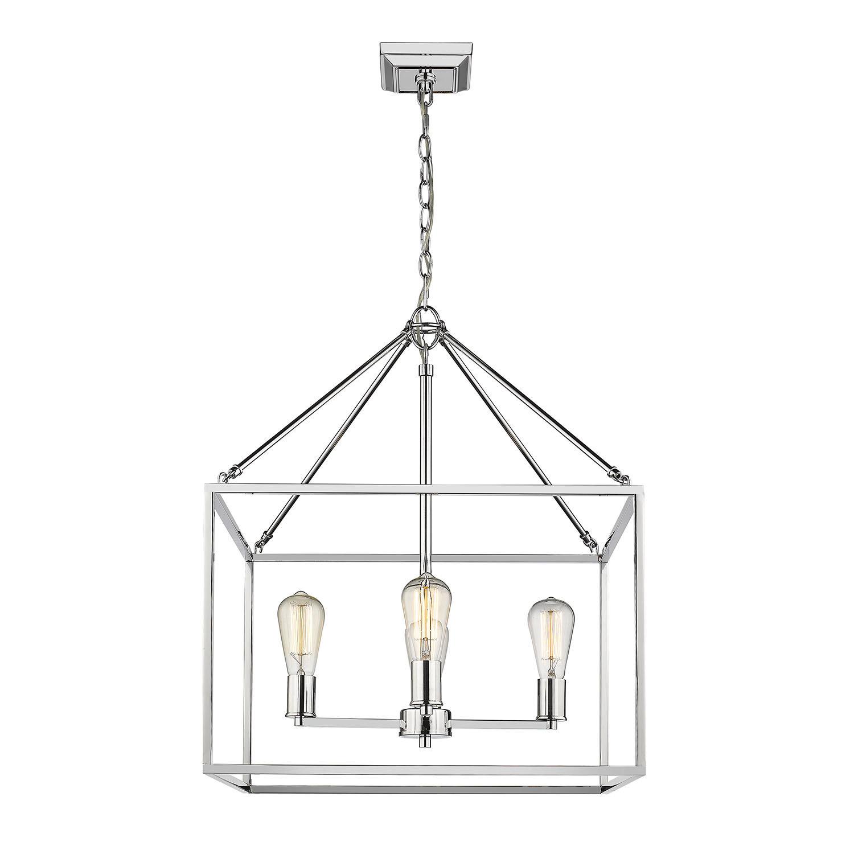 Zabel 4-Light Lantern Square / Rectangle Pendant with regard to Odie 4-Light Lantern Square Pendants (Image 30 of 30)