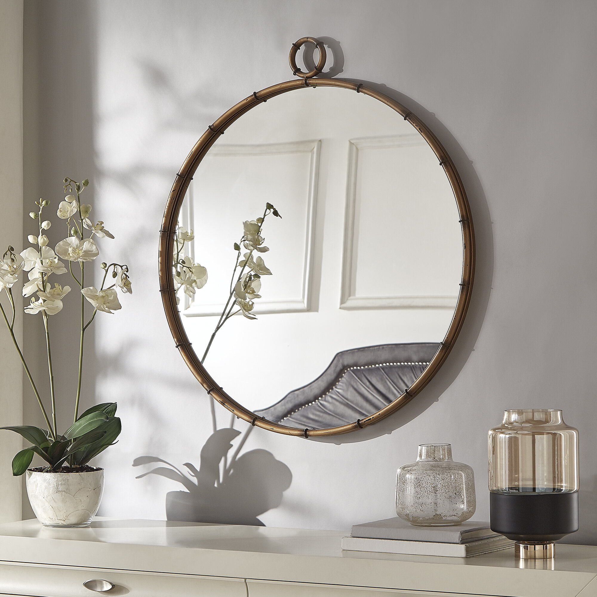 Zadie Modern And Contemporary Accent Mirror for Yedinak Modern Distressed Accent Mirrors (Image 30 of 30)