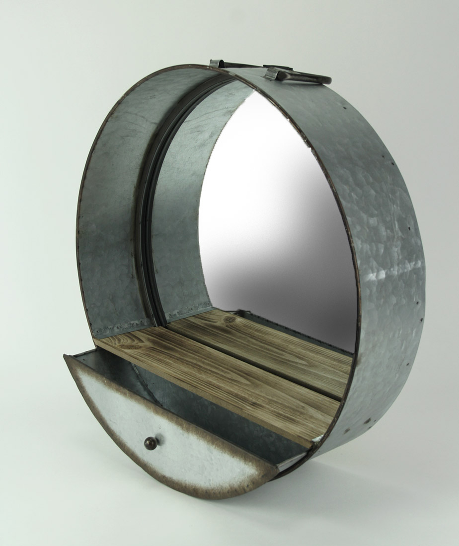 Zeckos Rustic Galvanized Metal Tub Frame Round Wall Mirror With Drawer Inside Round Galvanized Metallic Wall Mirrors (View 19 of 30)