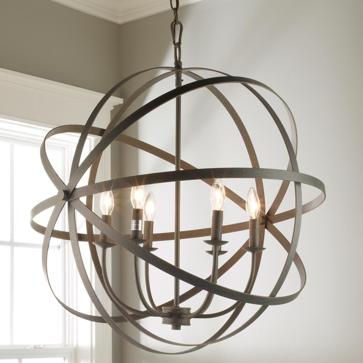 Zinc Orbit Globe Chandelier - 6 Light | Bedding, Lighting throughout Joon 6-Light Globe Chandeliers (Image 30 of 30)