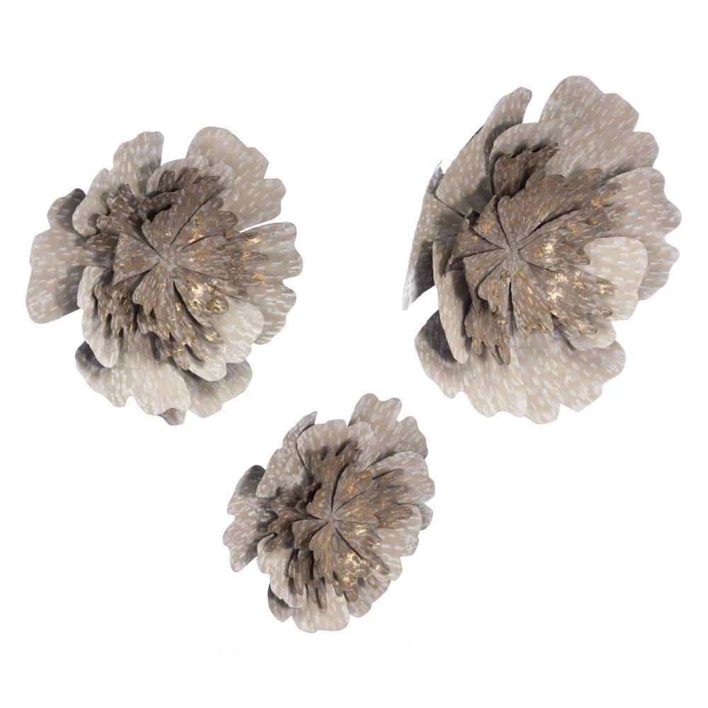 Zuo Metal Antique Flowers Wall Decor (Set Of 3) A10680 – The With Metal Flower Wall Decor (Set Of 3) (View 4 of 30)