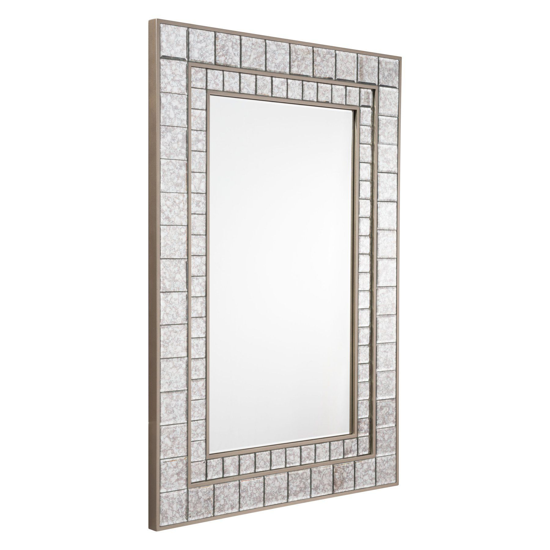 Zuo Modern Contemporary Antique Square Mini Mirror Framed regarding Modern & Contemporary Beveled Wall Mirrors (Image 30 of 30)