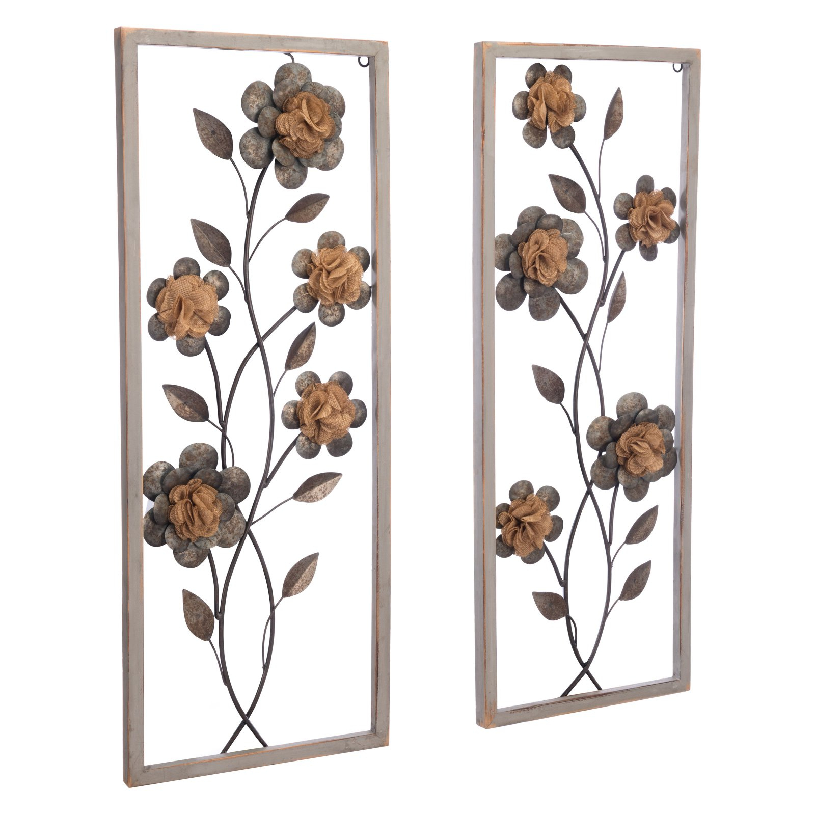 Zuo Modern Contemporary Set Of 2 Daisy Metal Wall Accents With 2 Piece Panel Wood Wall Decor Sets (set Of 2) (View 2 of 30)