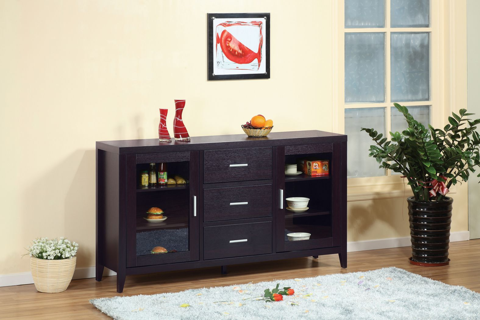 11456 Buffet Table - Smart Home Red Cocoa Modern Furniture for Simple Living Layla Black Buffets (Image 1 of 30)