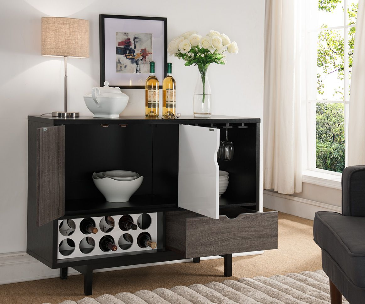 151369 Smart Home Contemporary Wine Cabinet Buffet Table Inside Contemporary Distressed Grey Buffets (View 1 of 30)
