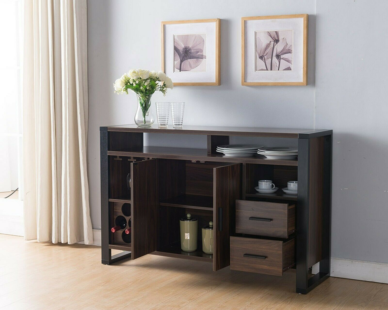 161640 Smart Home Dark Walnut & Black Wine Bar Sideboard Buffet Table with regard to Sideboards by Wildon Home (Image 1 of 30)