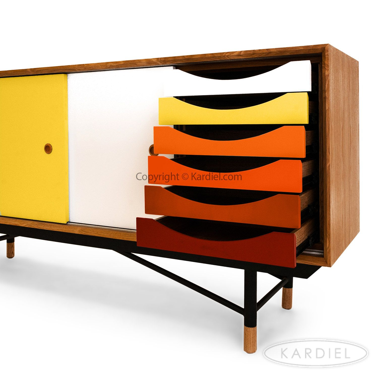 1955 Color Theory Mid-Century Modern Sideboard Credenza pertaining to Colorful Leaves Credenzas (Image 1 of 30)