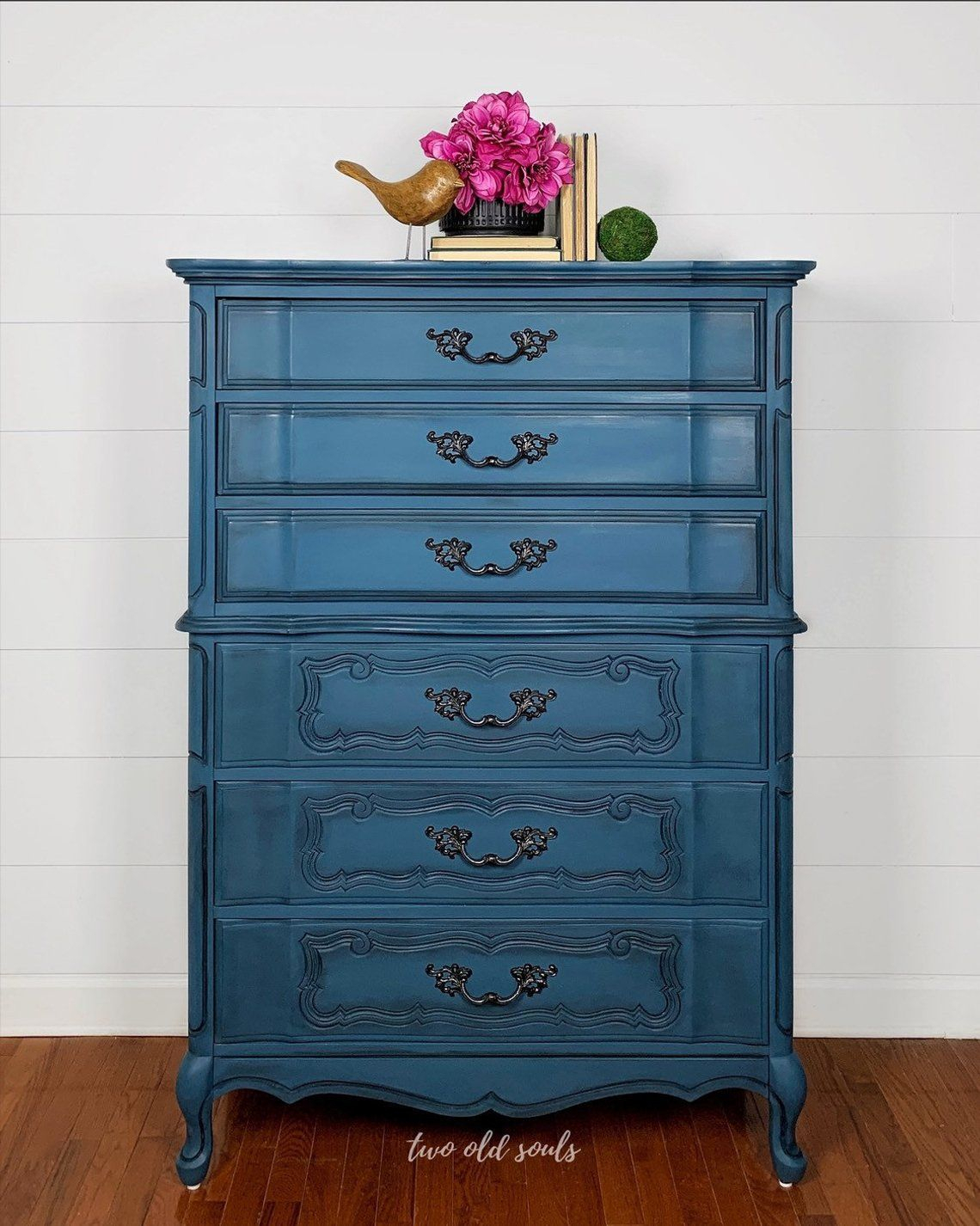 1960S French Provincial Bassett Painted Blue Oversized Pertaining To Pink And Navy Peaks Credenzas (Gallery 24 of 30)
