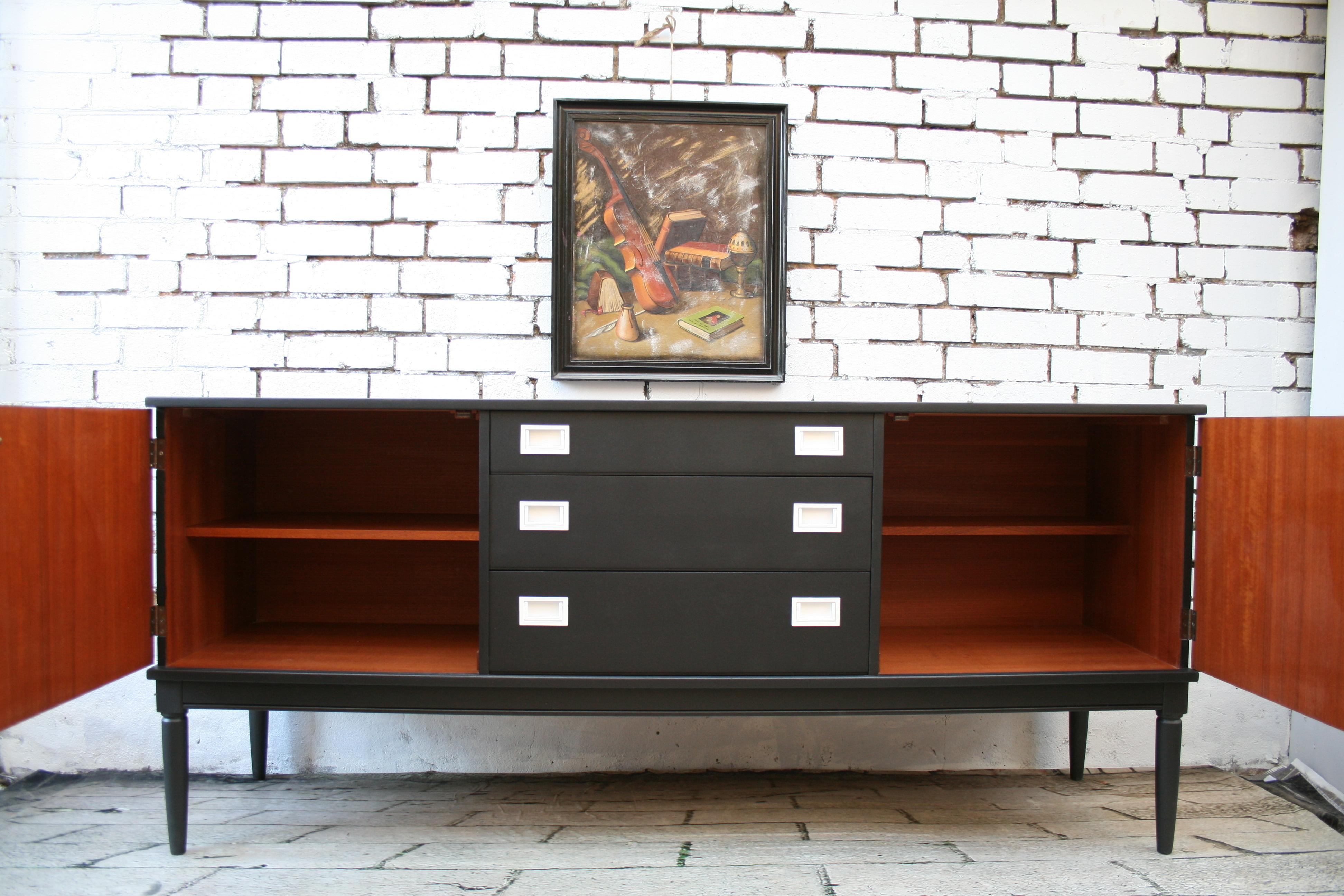 1960s Greaves And Thomas Black White Sideboard Mid Century Modern Within Mid Century Modern Glossy White Buffets (View 15 of 30)