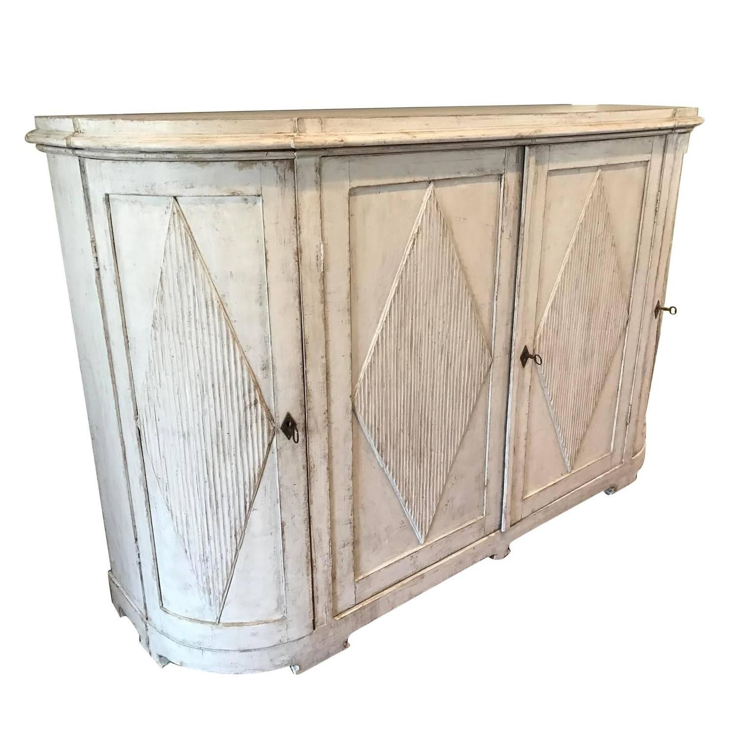 19Th Century Swedish Gustavian Painted Sideboard Cabinet In Hayslett Sideboards (Photo 23 of 30)