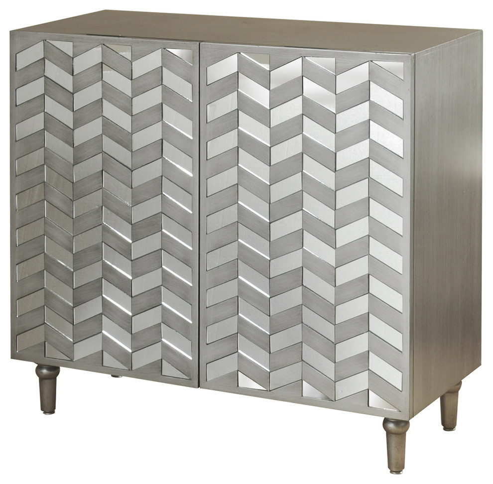 2 Door Credenza With Mirrored Door Fronts, Champagne Silver Intended For Wooden Deconstruction Credenzas (View 11 of 30)