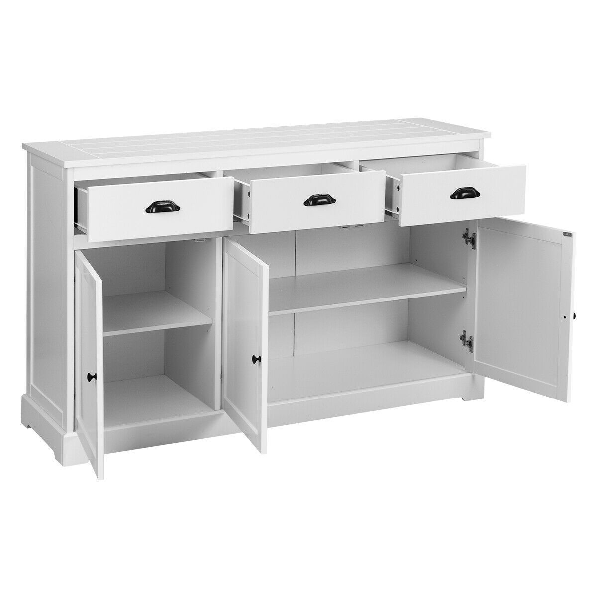 3 Drawers Console Table Sideboard Buffet Cabinet in 3-Drawer Black Storage Buffets (Image 1 of 30)