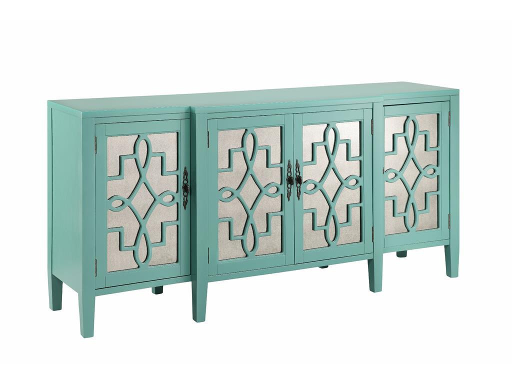 4 Door Mirrored Credenza In Robin's Egg Bluestein World in Sideboards by Wildon Home (Image 2 of 30)