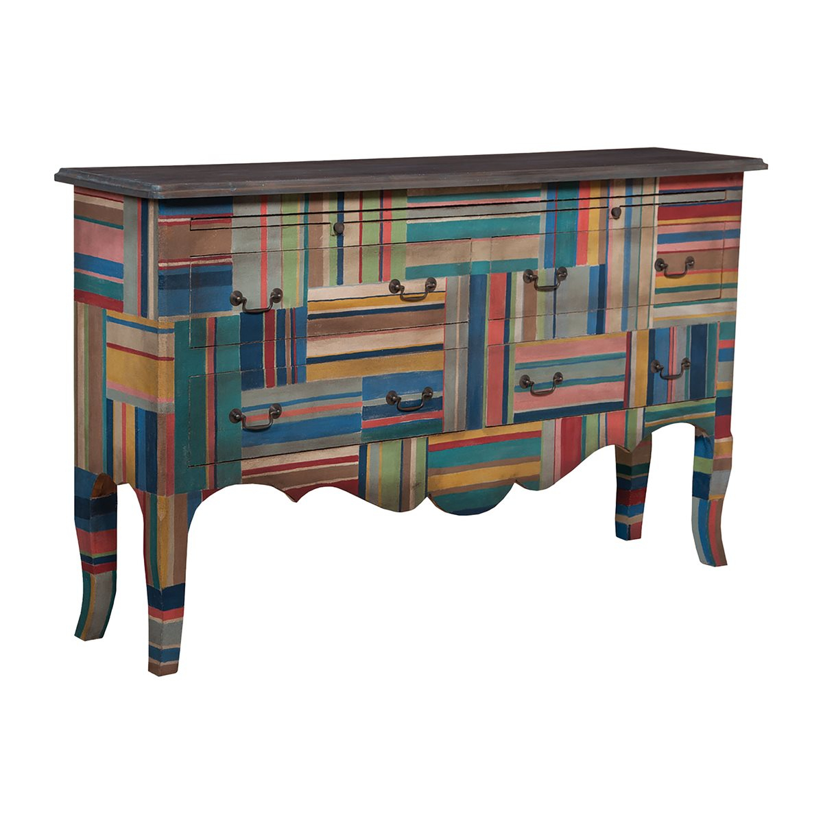 4-Drawer Sideboard In Multi-Color Stripes With Heritage Dark throughout Multi Stripe Credenzas (Image 2 of 30)