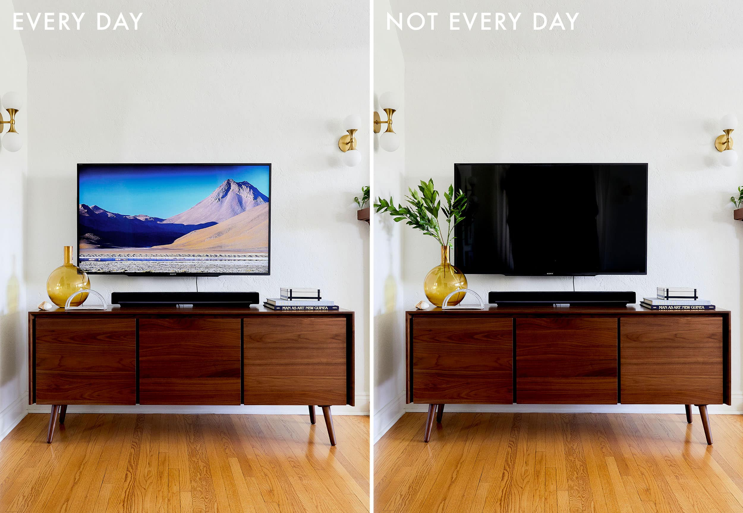 """4 Ways To Style That Credenza For """"real Life"""" + Shop Our throughout Multi Colored Geometric Shapes Credenzas (Image 2 of 30)"""