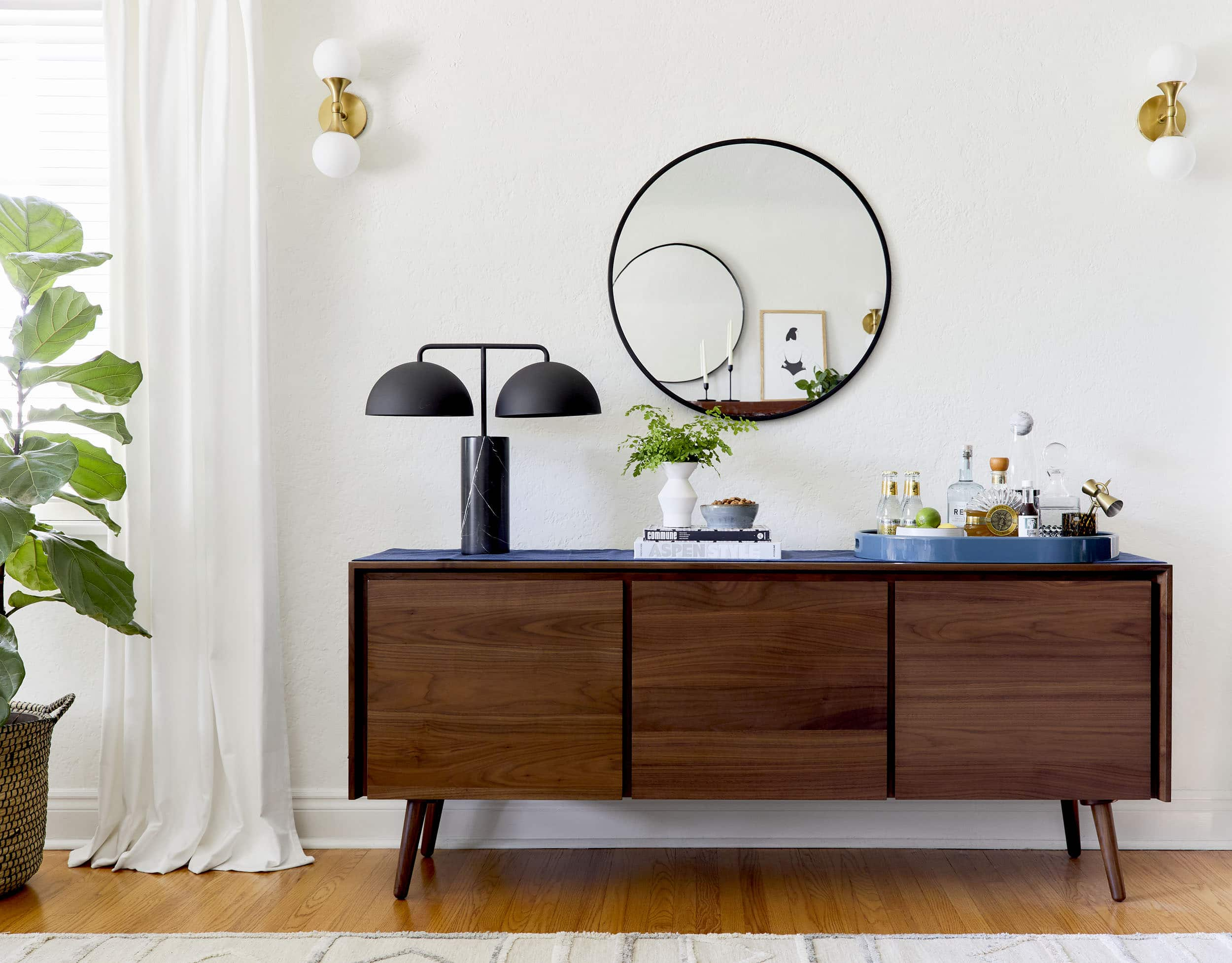 "4 Ways To Style That Credenza For ""real Life"" + Shop Our throughout Multi Stripe Credenzas (Image 1 of 30)"