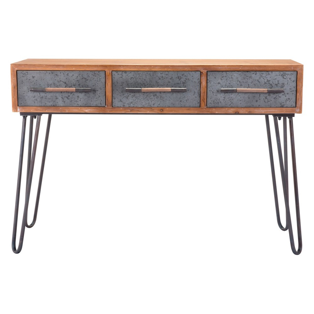 47 Industrial Galvanized Steel Console Table - Brown - Zm regarding Madison Park Kagen Grey Sideboards (Image 1 of 30)