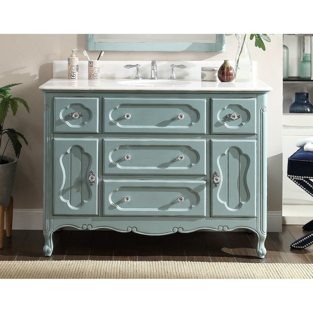 "48"" Benton Collection Knoxville Shabby Chic Light Blue Bathroom Vanity pertaining to Knoxville Sideboards (Image 1 of 30)"