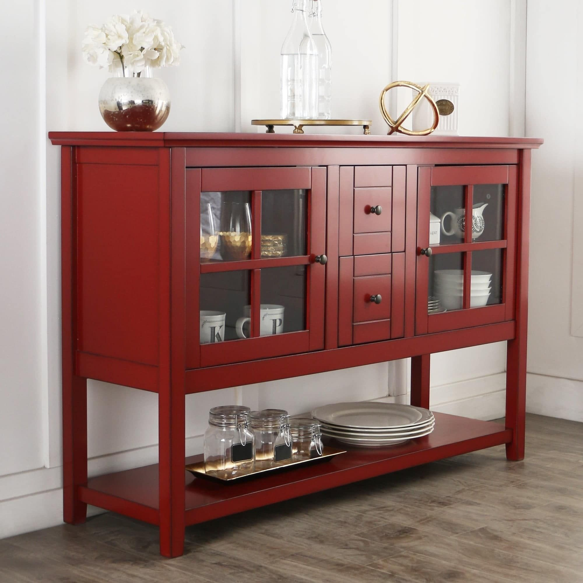 """52"""" Buffet Tv Stand In Antique Red In 2019 