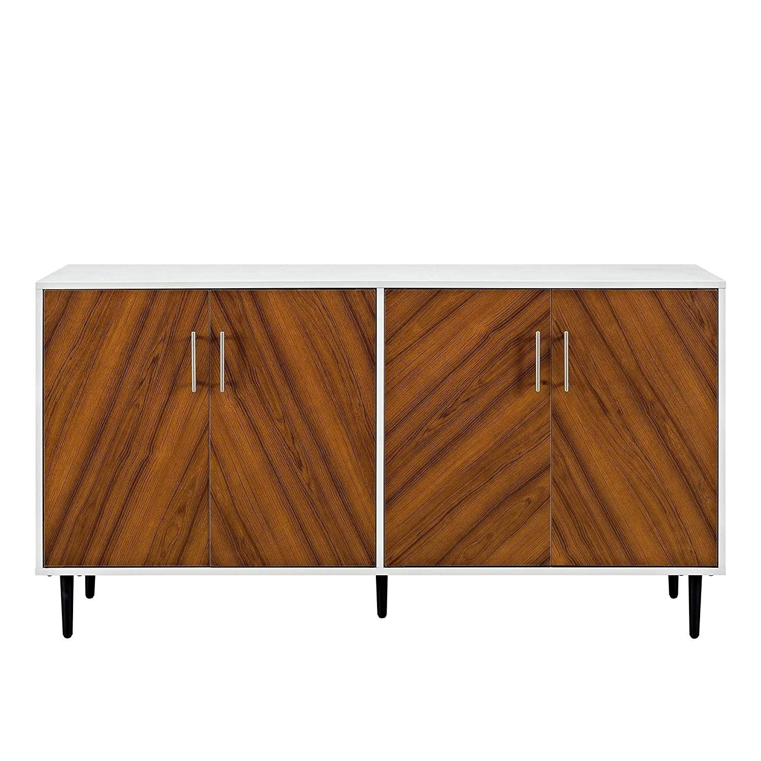 """58"""" Retro Mid Century Modern Bookmatch Buffet Stand – White/teak – N/a Intended For Mid Century White Buffets (View 10 of 30)"""