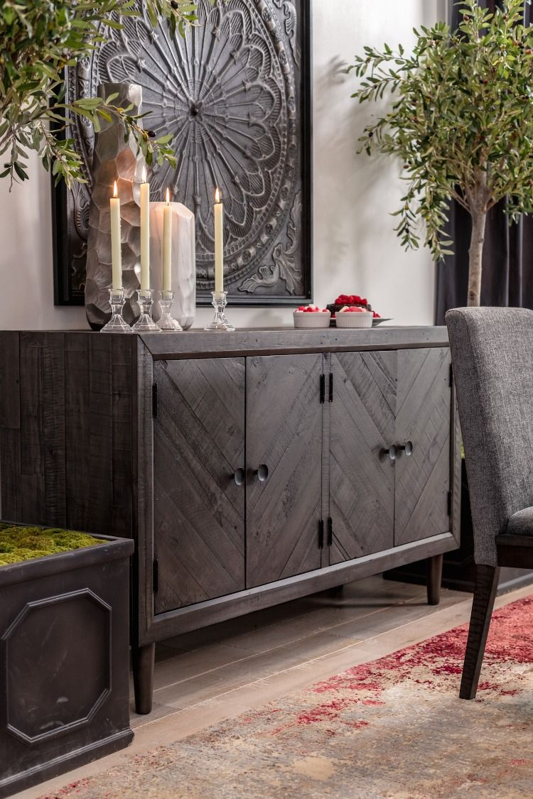 """60"""" Traditional Dining Room Server In Dark Gray 