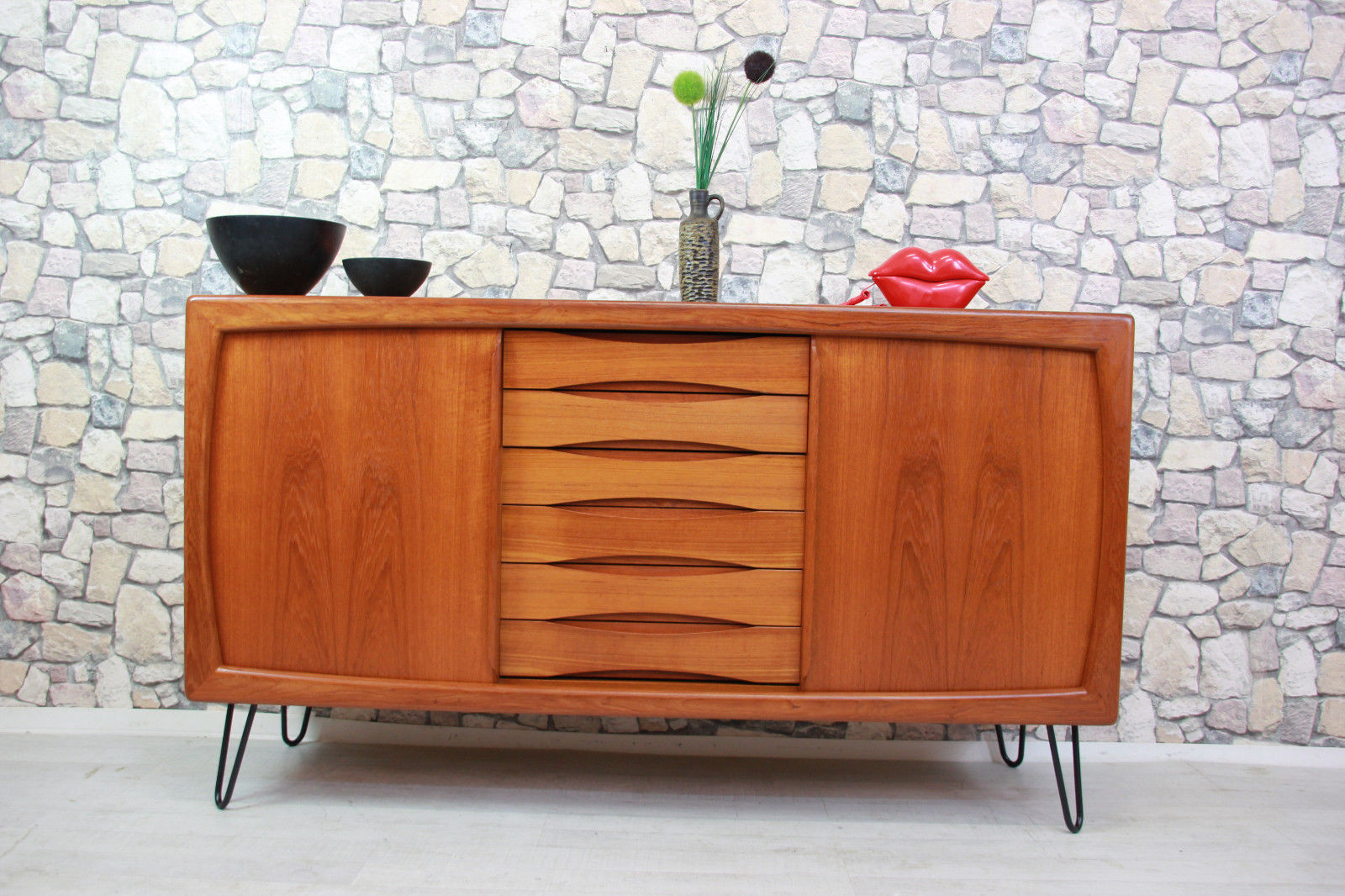 60Er Teak Dyrlund Kommode Sideboard Danish Design 60S 60S Throughout Mid Century Modern Scandinavian Style Buffets (Photo 20 of 30)