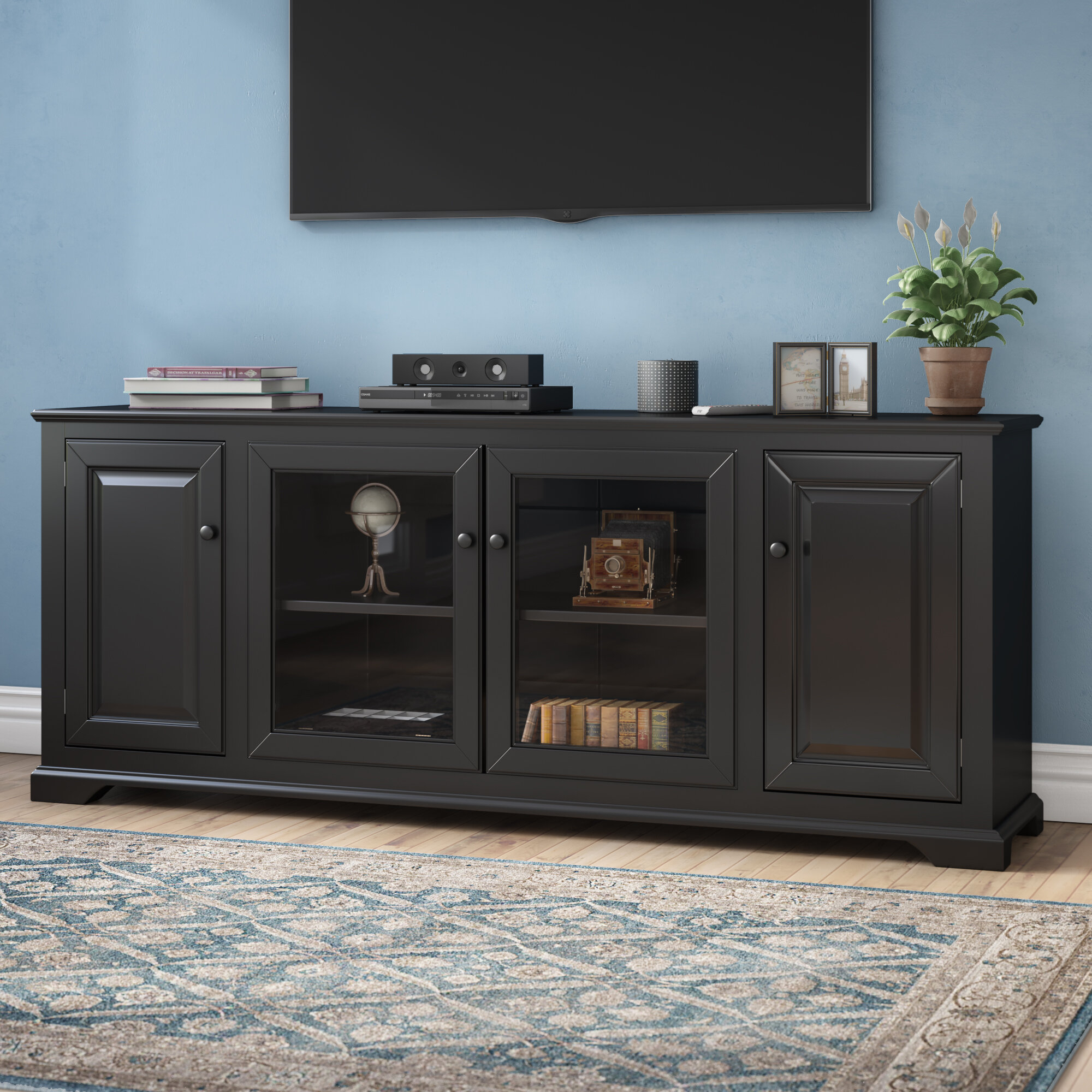 "70 Inch And Larger Gold Tv Stands You'll Love In 2019 | Wayfair throughout Colefax Vintage Tv Stands For Tvs Up To 78"" (Image 1 of 30)"