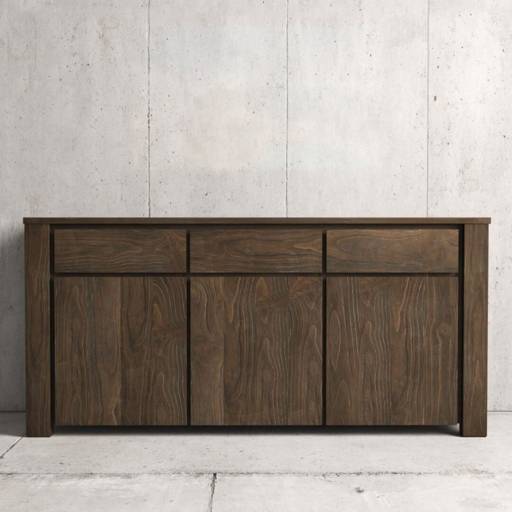 """75"""" Teca Dining Buffet (salvaged Espresso) 