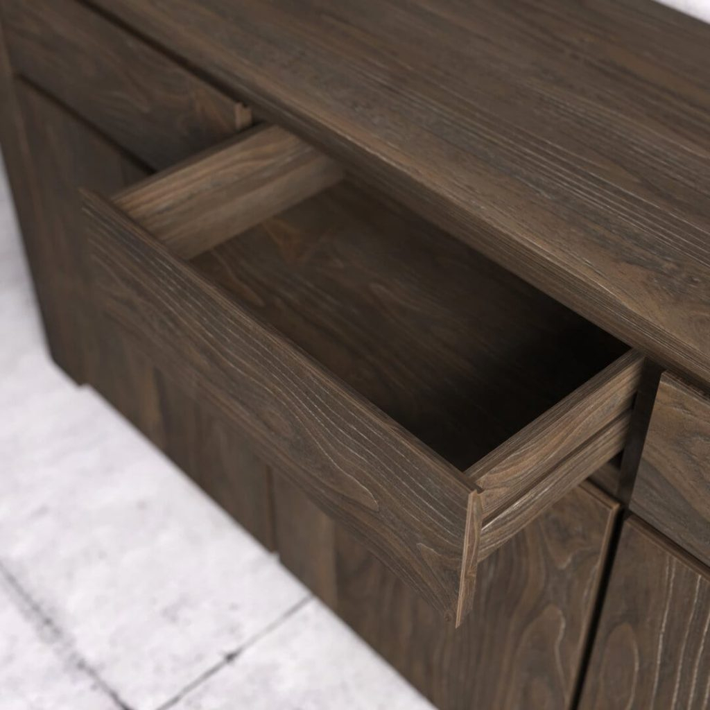 "75"" Teca Dining Buffet (salvaged Espresso) | Urban Woodcraft Pertaining To Espresso Wood Multi Use Buffets (View 11 of 30)"