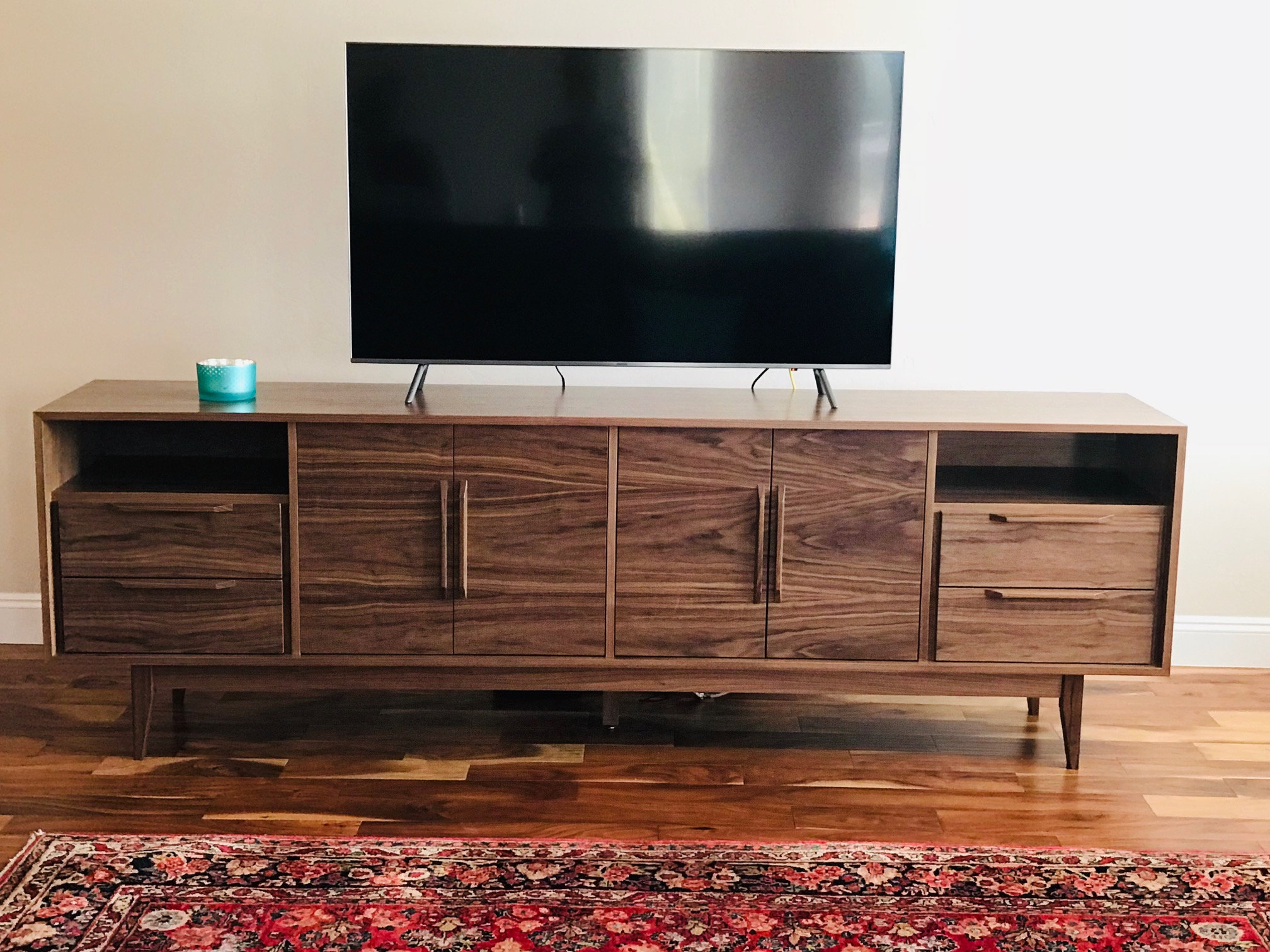 8' Mid Century Style Tv Cabinet / Buffet / Liquor Cabinet / Credenza – Walnut With Straight Leg Base. In Mid Century 3 Cabinet Buffets (Gallery 26 of 30)