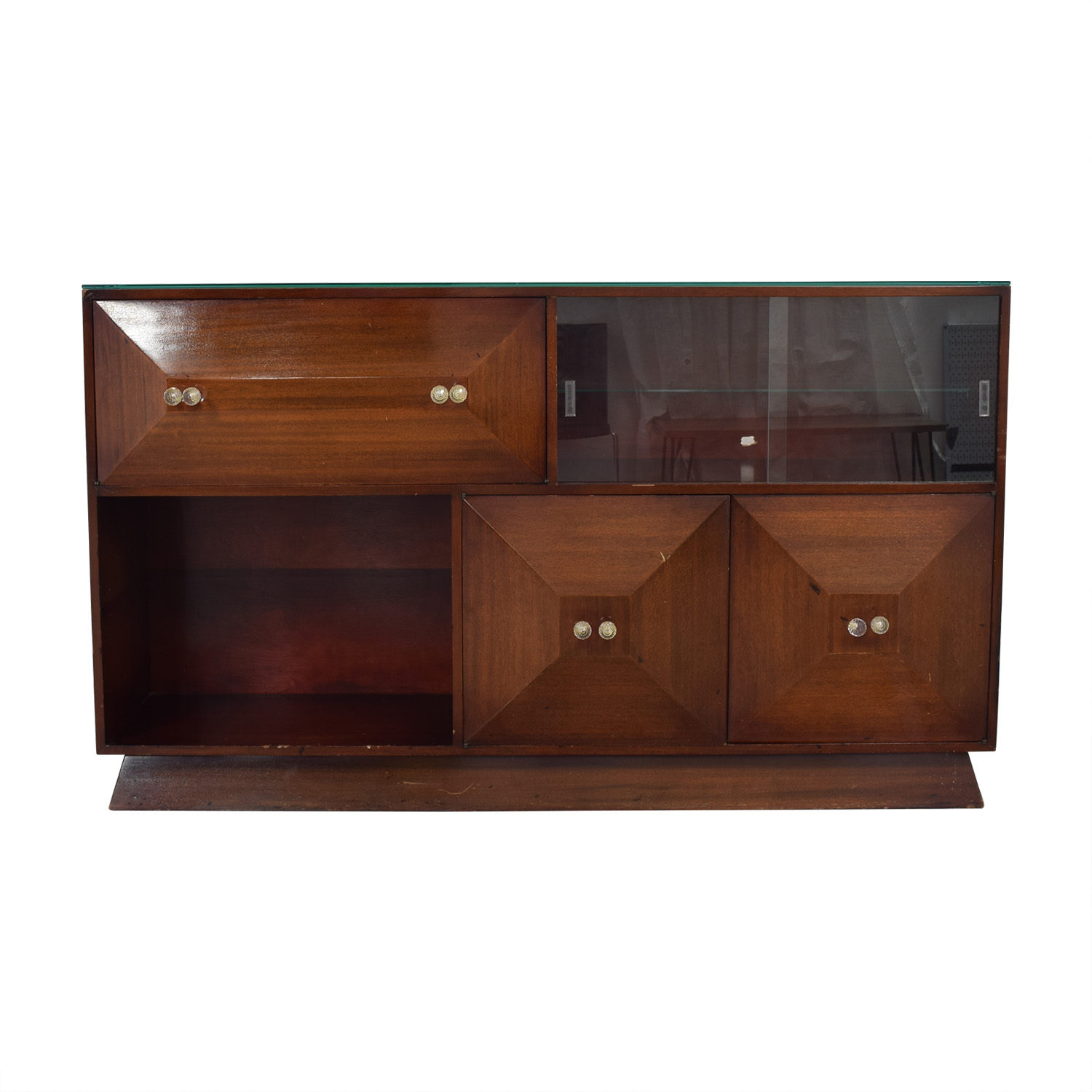 80% Off   Mid Century Bar Sideboard With Bar / Storage Intended For Mid Century Brown Sideboards (Photo 18 of 30)