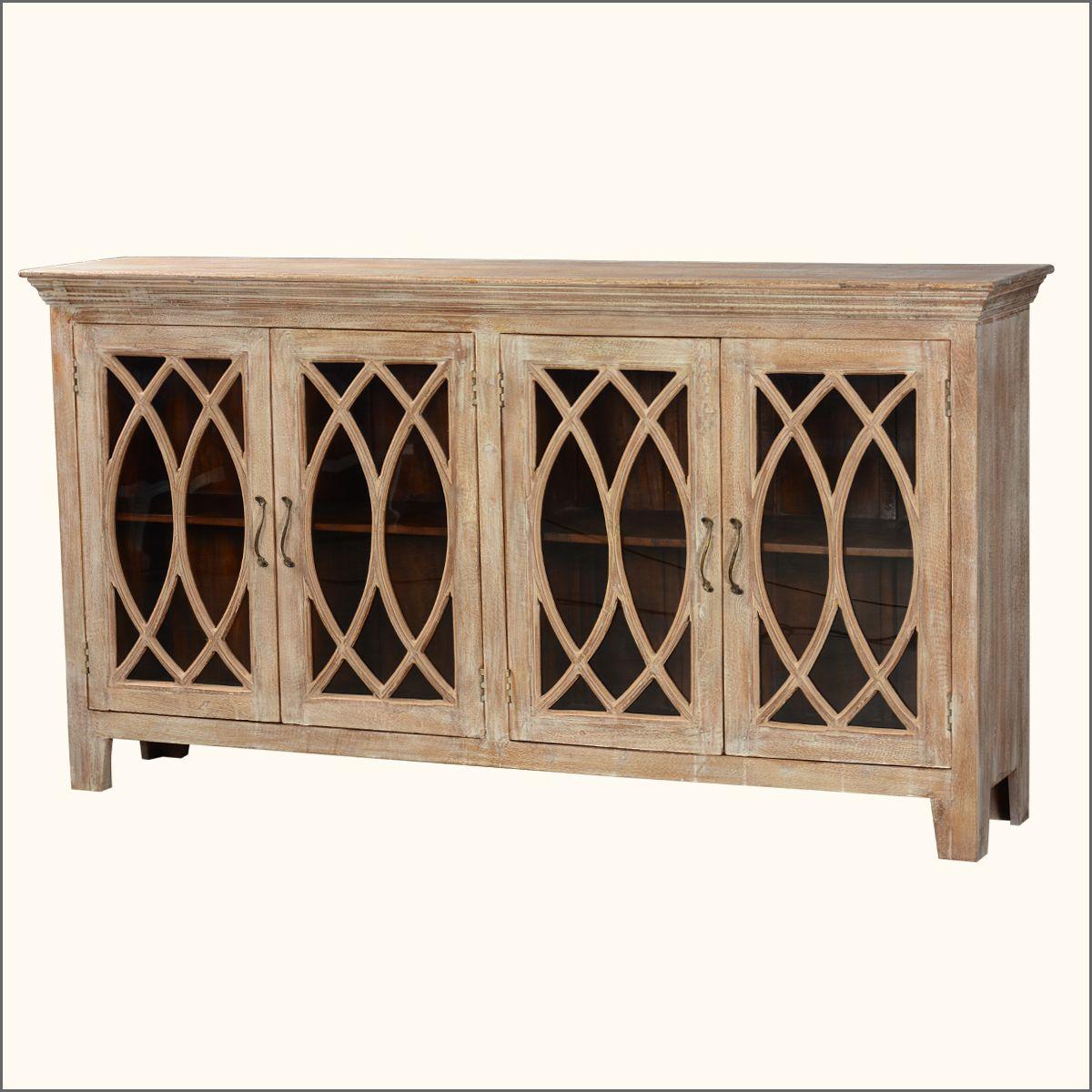 """81.5"""" Solid Wood Glass Door Sideboard 4 Door Rustic Buffet In Raquette Sideboards (Photo 5 of 30)"""