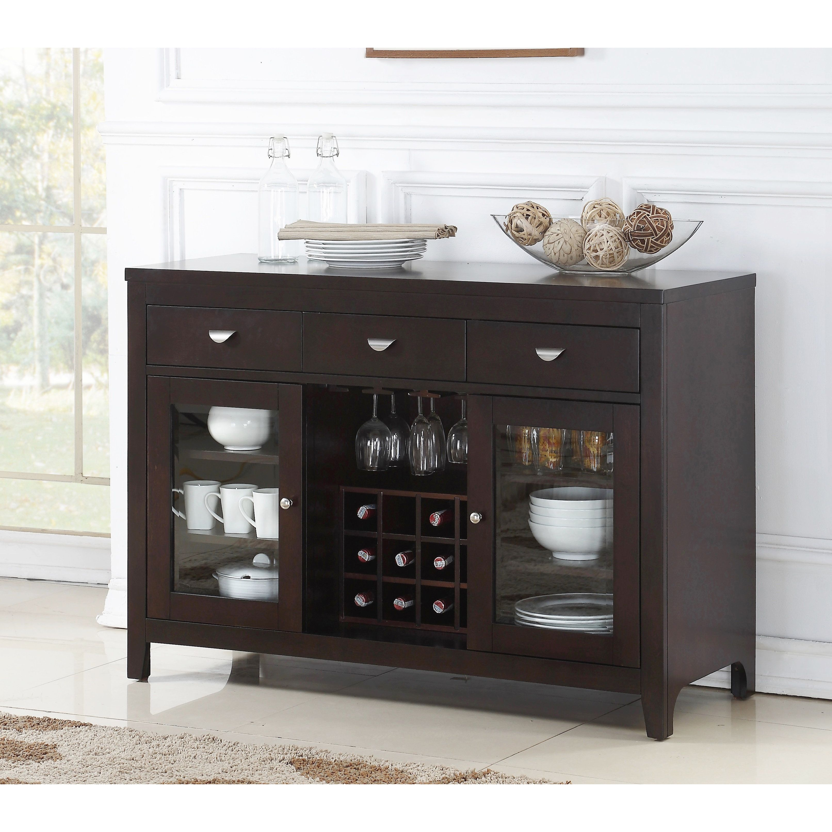 Abbyson Clarkston Espresso Dining Buffet Server | Products Throughout Simple Living Southport Dining Buffets (View 1 of 30)