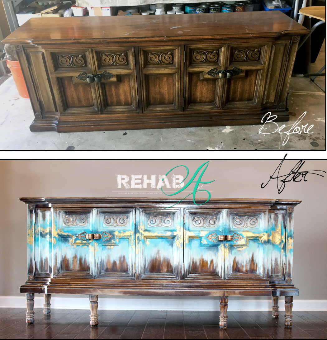 Abstract Gold Leaf Credenza | General Finishes Design Center regarding Colorful Leaves Credenzas (Image 5 of 30)