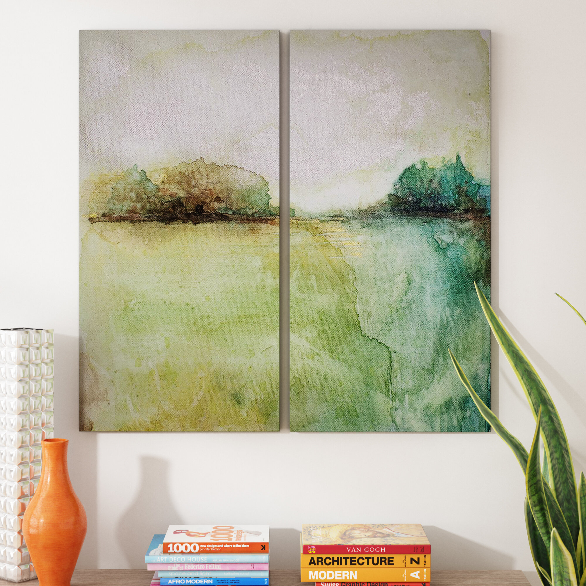 'abstract Landscape' 2 Piece Print Set On Canvas In Green/gray/teal Intended For Carbon Loft Feleni Contemporary Buffets (View 1 of 30)