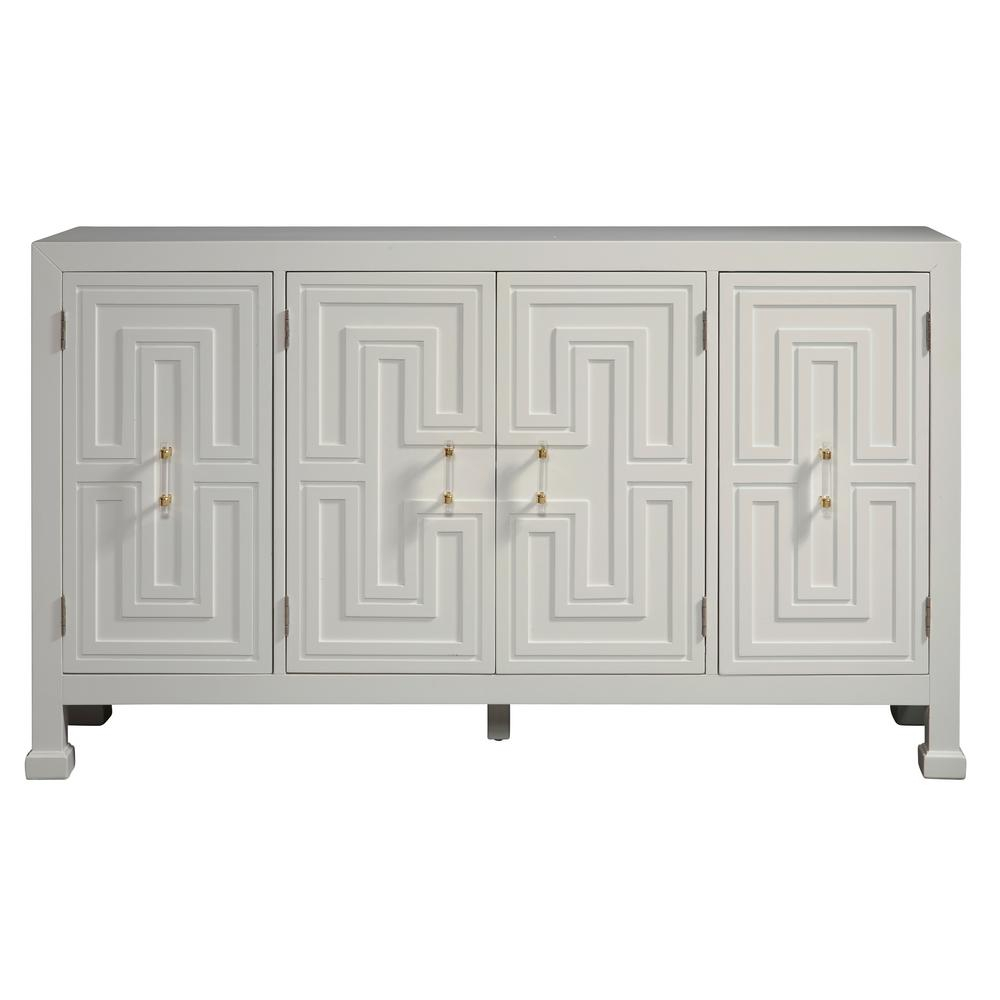 Accentrics Home White Geometric Overlay Credenza D212-100 inside Multi Colored Geometric Shapes Credenzas (Image 4 of 30)