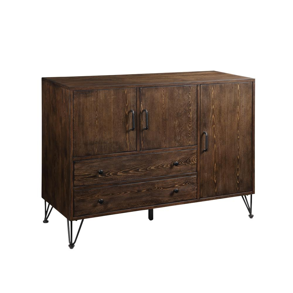 Acme Furniture Garron Walnut And Black Server 70739 - The regarding Industrial Cement-Like Buffets (Image 2 of 30)