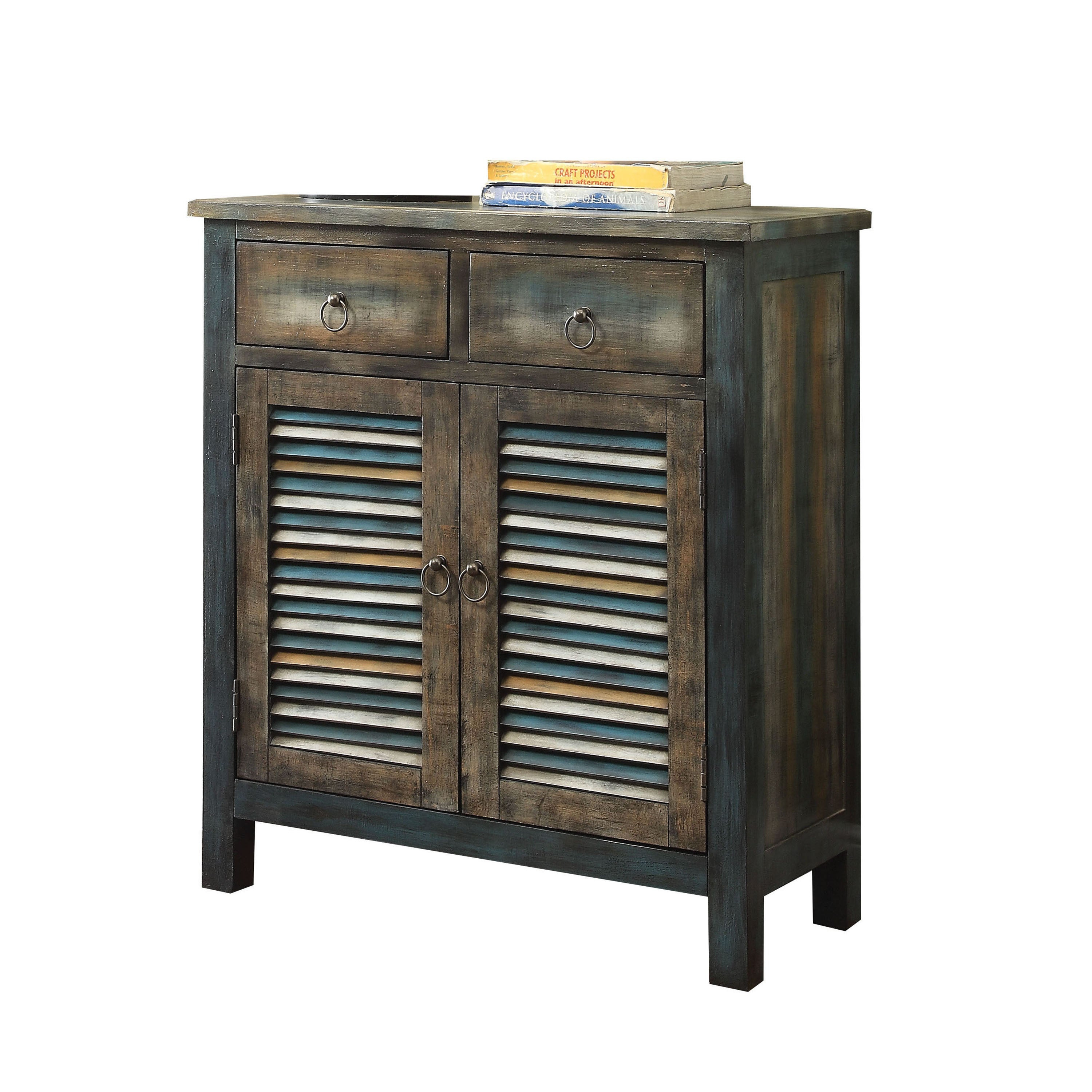 Acme Furniture Glancio Antique Oak/ Teal Console Table pertaining to Arminta Wood Sideboards (Image 1 of 30)