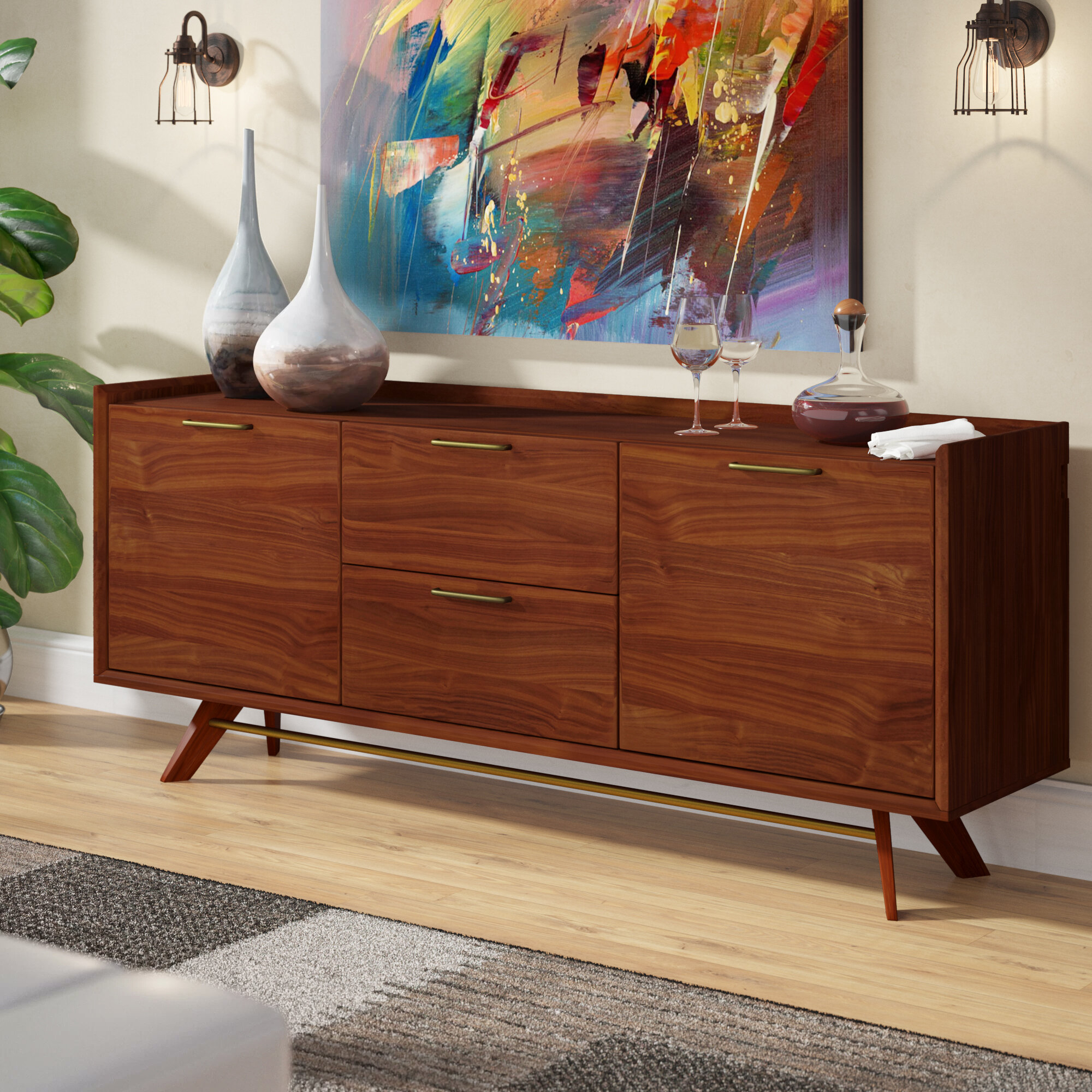 Adam 3 Section Sideboard Pertaining To Emiliano Sideboards (View 21 of 30)