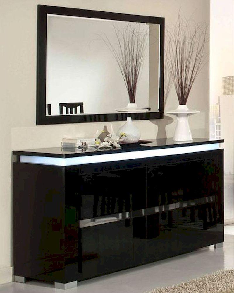 Adriana Modern Black Buffet With Mirror 44dadrbm In Modern Black Storage Buffets (View 15 of 30)